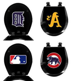 MLB Toilet Seat Black Finish Molded Wood Round Style w/ Base