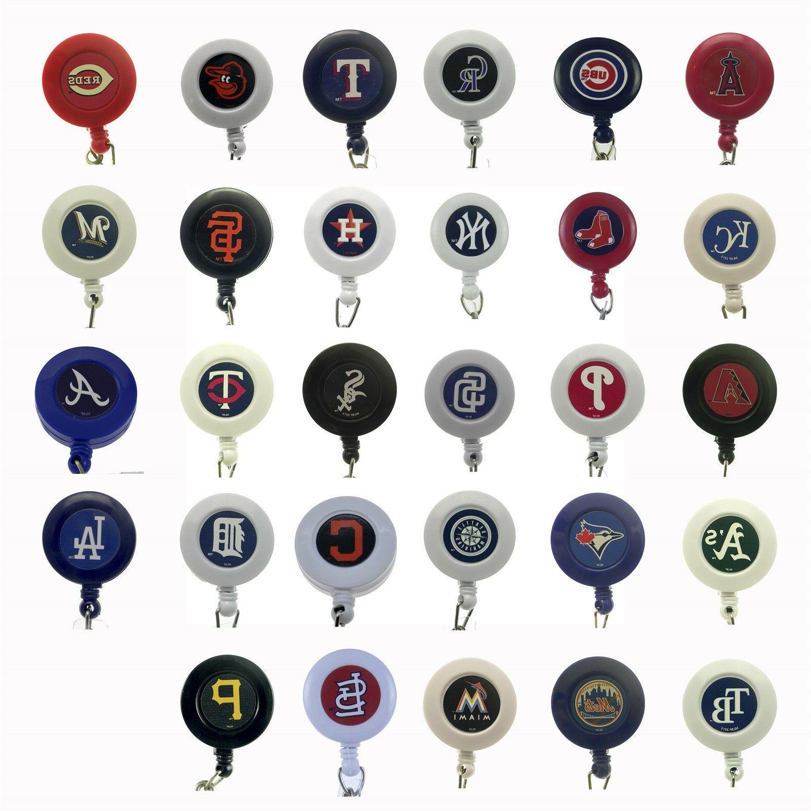 mlb baseball badge reel sports retractable security