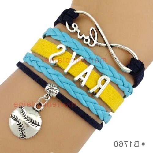 tampa bay rays leather baseball bracelet charm