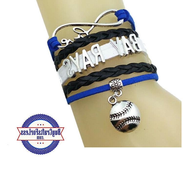 tampa bay rays leather woven infinity bracelet