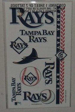 MLB 1 SHEET 7 TEMPORARY TATTOOS  TAMPA BAY RAYS FREE SHIPPIN