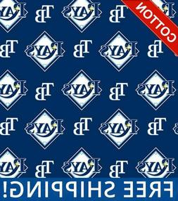 MLB Baseball Cotton Tampa Bay Rays Fabric, by The Yard - #66