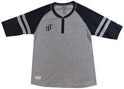 MLB Tampa Bay Rays Girl's Colorblocked Henley Top, Grey, Lar