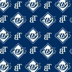MLB TAMPA BAY RAYS ALL OVER COTTON FABRIC MATERIAL, Fabric S