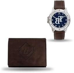 MLB Tampa Bay Rays Brown Faux Leather Watch & Wallet Set