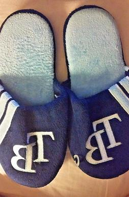 MLB TAMPA BAY RAYS MEN'S PLUSH BLUE SLIPPERS WITH EMBROIDERE