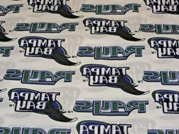 MLB TAMPA BAY RAYS  PRINT 100% COTTON FABRIC BY THE 1/2 YARD