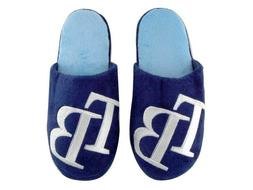 MLB TAMPA BAY RAYS WOMEN'S XL 11 PLUSH BLUE SLIPPERS WITH EM