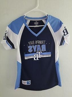 NEW Majestic MLB Apparel Tampa Bay Rays V-Neck Jersey Womens