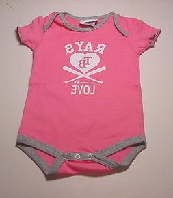 """New! Tampa Bay Rays INFANT """"LOVE RAYS"""" Girls Pink ONESIE"""
