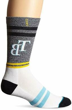 NWT M 6-8.5 Tampa Bay Rays Blue Gray Men's Crew Socks Medium