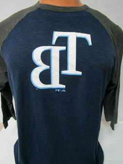 TAMPA BAY RAYS 3/4 SLEEVE SHIRT MAJESTIC NEW PICK SIZE