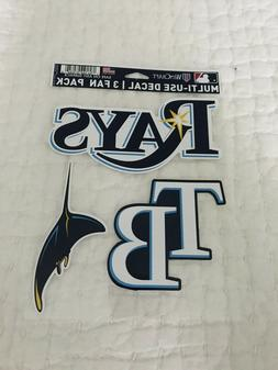Tampa Bay Rays 3-Piece Decal / Removal Sticker Set - Made in