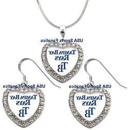 Tampa Bay Rays 925 Necklace / Earrings or Set Team Heart Wit