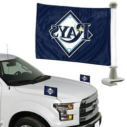 Tampa Bay Rays Ambassador Style Auto Flag Pair Set Car Banne