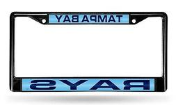 Tampa Bay Rays BLACK Laser Frame Chrome Metal License Plate