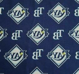 """Tampa Bay Rays BTY Fabric Traditions 58"""" Wide Blue MLB Baseb"""