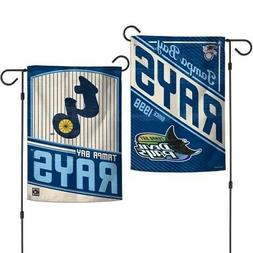 """TAMPA BAY RAYS COOPERSTOWN COLL. 2 SIDED GARDEN FLAG 12""""X18"""""""