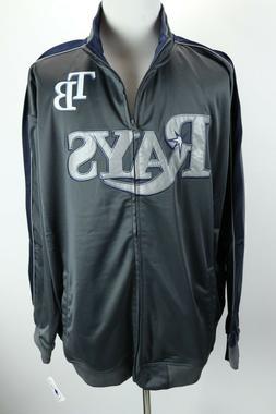 Tampa Bay Rays Full Zip MLB Gray Blue Track Jacket Mens Tall
