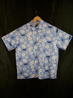 Tampa Bay Rays Men's Over sized Blue Hawaiian Hibiscus Butto
