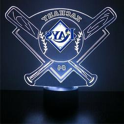 Tampa Bay Rays Night Light, MLB Baseball LED Sports Fan Lamp