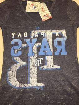TAMPA BAY RAYS MLB MAJESTIC TOPAZ TEE AUTHENTIC WOMEN'S BLUE
