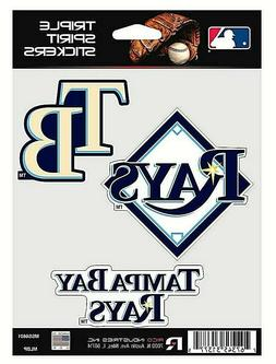 Tampa Bay Rays MLB Triple Spirit Stickers / Decals  3 Pack *