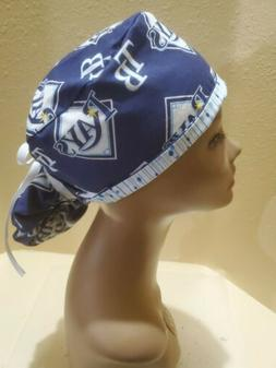 Tampa Bay Rays MLB Women's Ponytail Surgical Scrub Hat/Cap H