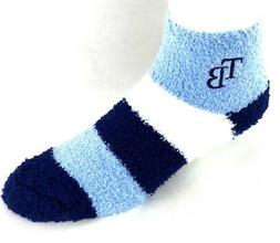 Tampa Bay Rays Navy White Light Blue Striped Fuzzy Ankle Soc
