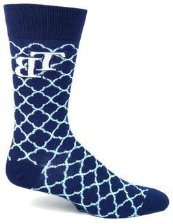 Tampa Bay Rays Quatrefoil Crew Socks Navy and Light Blue