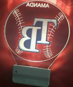 Tampa Bay Rays TB MLB Night Light Personalized LED Plug In,