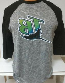TAMPA BAY RAYS THROWBACK 3/4 sleeve SHIRT MENS MAJESTIC LG O