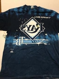 Tampa Bay Rays Tie Dye T Shirt MLB Blue Large Baseball Unise